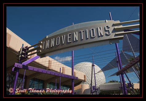 Innoventions entrance sign in Epcot, Walt Disney World, Orlando, Florida