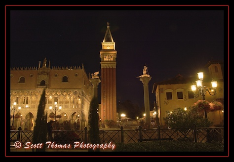A replica of St Mark's Campanile or bell tower dominates Epcot's Italy pavilion, Walt Disney World, Orlando, Florida