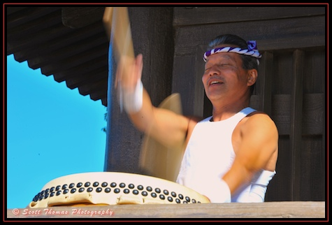 Taiko Drummer performaing at Japan's pavilion in Epcot's World Showcase, Walt Disney World, Orlando, Florida