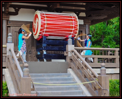 Taiko Drummers performing at Japan in Epcot's World Showcase, Walt Disney World, Orlando, Florida.