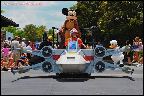 Jedi Knight Mickey Mouse leads off the Star Wars Celebrity Motorcade in Disney's Hollywood Studios, Walt Disney World, Orlando, Florida