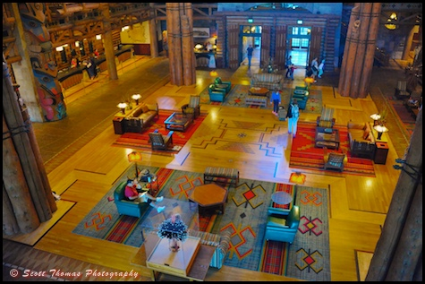The Lobby of Disney's Wilderness Lodge resort, Walt Disney World, Orlando, Florida.