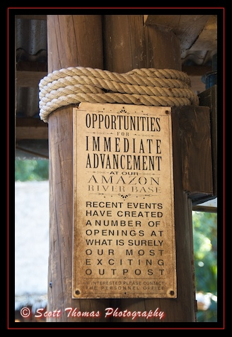 A sign found along the queue of the Jungle Cruise in the Magic Kingdom, Walt Disney World, Orlando, Florida