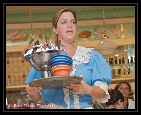 The Kitchen Sink ice cream sundae being delivered at the Beaches and Cream restaurant, Walt Disney World, Orlando, Florida