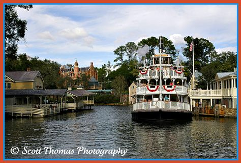 The Liberty Bell Riverboat sets off on it's trip down the Rivers of America in the Magic Kingdom, Walt Disney World, Orlando, Florida.