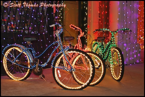 Lighted bicycles found at the Osborne Family Spectacle of Dancing Lights in Disney's Hollywood Studios , Walt Disney World, Orlando, Florida