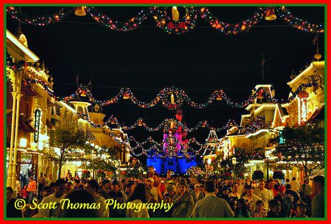 Magic Kingdom's Main Street USA all decked out for Christmas, Walt Disney World, Orlando, Florida.