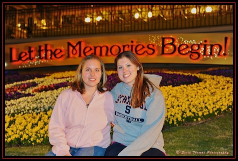 My daughter and her friend outside the Magic Kingdom, Walt Disney World, Orlando, Florida