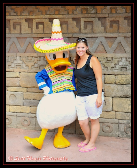 Sombrero wearing Donald Duck in Mexico's character Meet and Greet location in Epcot's World Showcase, Walt Disney World, Orlando, Florida
