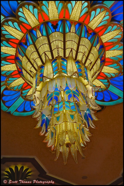 Close up of the Disney Dream Chandelier in the Atrium.