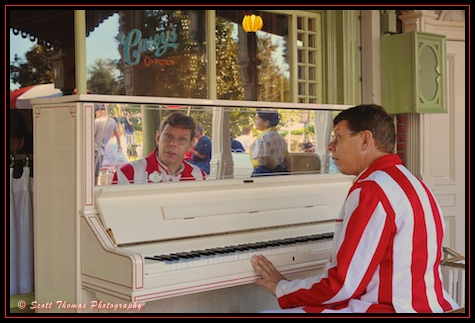 Jim the Ragtime Pianist at Casey's Corner in the Magic Kingdom, Walt Disney World, Orlando, Florida