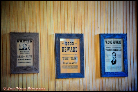 Wanted signs at the Frontierland Train Station in the Magic Kingdom, Orlando, Florida.