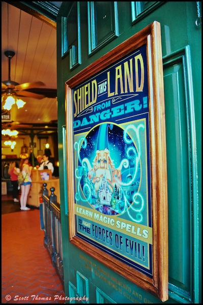 Sorcerers of the Magic Kingdom sign at the entrance to the Fire House on Main Street USA in the Magic Kingdom, Orlando, Florida.