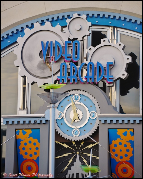 Video Arcade sign and clock next to Tomorrowland's Space Mountain in the Magic Kingdom, Orlando, Florida.