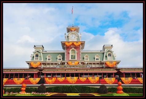 Magic Kingdom's Main Street Train Station decorated for Halloween, Walt Disney World, Orlando, Florida