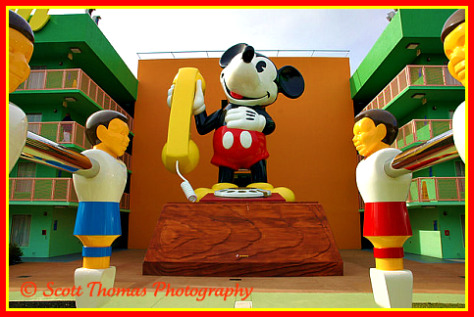 Mickey Mouse Phone icon at the Pop Century Resort, Walt Disney World, Orlando, Florida.