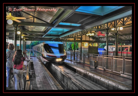 Monorail Black entering the Magic Kingdom station, Walt Disney World, Orlando, Florida