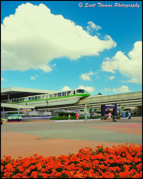 Monorail leaves the Ticket and Transportation Center station, Walt Disney World, Orlando, Florida.