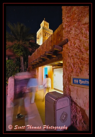 Restroom entrance in Morocco's Epcot World Showcase pavilion, Walt Disney World, Orlando, Florida