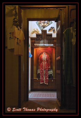 Tangier Traders sells traditional Moroccan clothing in Epcot's Morocco pavilion, Walt Disney World, Orlando, Florida