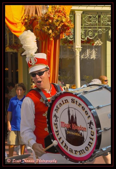 Main Street Philharmonic Band drummer in the Magic Kingdom, Walt Disney World, Orlando, Florida