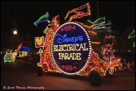Main Street Electrical Parade title float with Mickey Mouse in the Magic Kingdom, Walt Disney World, Orlando, Florida