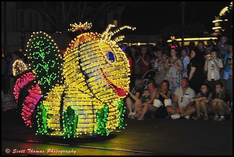 Main Street Electrical Parade Bumble Bee float in the Magic Kingdom, Walt Disney World, Orlando, Florida