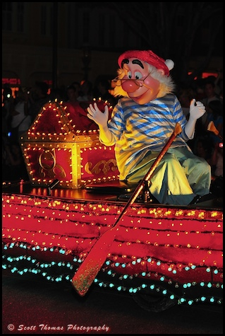 Mr. Smee rowing in the Main Street Electrical Parade in the Magic Kingdom, Walt Disney World, Orlando, Florida
