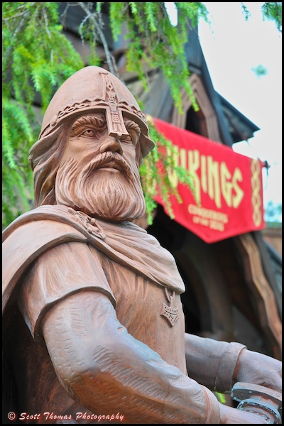 A mighty Viking outside the Stave Church in Epcot's World Showcase, Walt Disney World, Orlando, Florida.