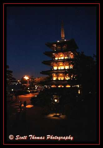 Japan's Goju-no-to Pagoda at night in Epcot's World Showcase, Walt Disney World, Orlando, Florida