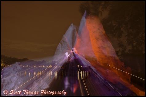 Long exposure nighttime zoomed photo of Expedition Everest in Disney's Animal Kingdom, Walt Disney World, Orlando, Florida.