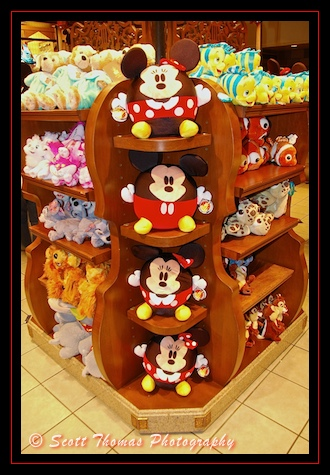 Mickey and Minnie Mouse plush merchandise display in the Magic Kingdom, Walt Disney World, Orlando, Florida