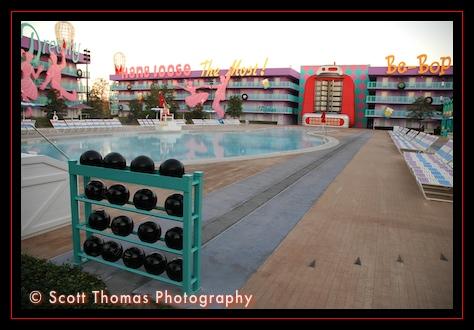 Pop Century Resort's 1950's building and pool, Walt Disney World, Orlando, Florida