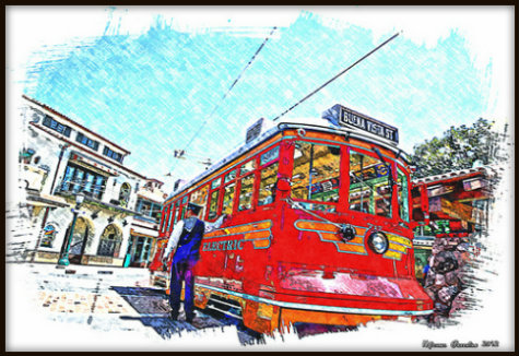Red Car Trolley on Buena Vista Street by Michael Greening, Anaheim, California