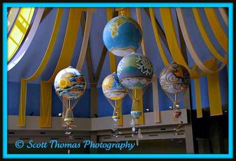 The five balloons hanging from The Land pavilion's ceiling in Epcot, Walt Disney World, Orlando, Florida.