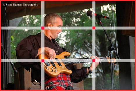 A photo of Off Kilter's Bassist, Mark Weldon, used to demonstrate the rule of thirds in Epcot's Canada pavilion, Walt Disney World, Orlando, Florida