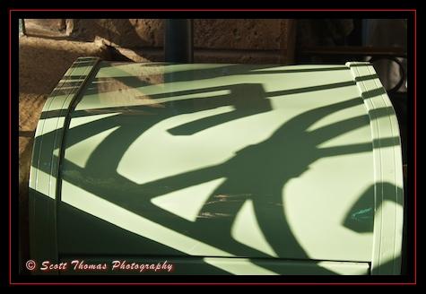 Shadows on a trashcan in the Haunted Mansion queue in the Magic Kingdom, Walt Disney World, Orlando, Florida