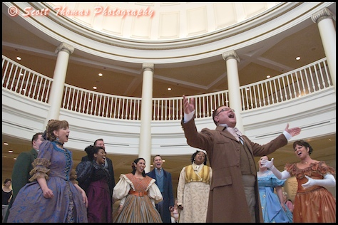 The Voices of Liberty a cappella group perform in the rotunda of the Epcot's American Adventure pavilion, Walt Disney World, Orlando, Florida