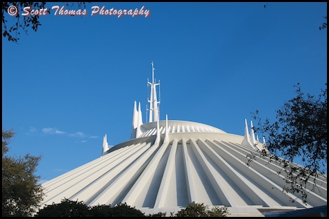 Wide view of Space Mountain in the Magic Kingdom, Walt Disney World, Orlando, Florida.