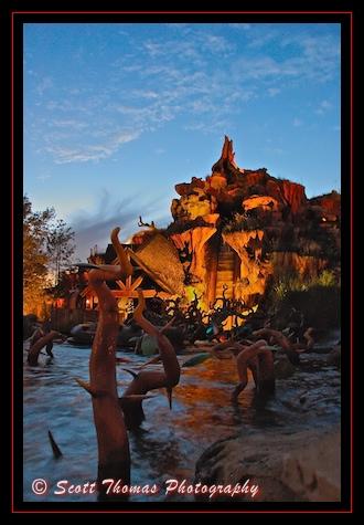 A calm Splash Mountain just after sunset in the Magic Kingdom, Walt Disney World, Orlando, Florida
