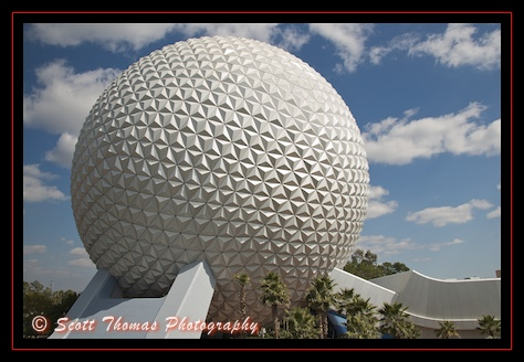 Spaceship Earth as seen from the Monorail in Epcot, Walt Disney World, Orlando, Florida