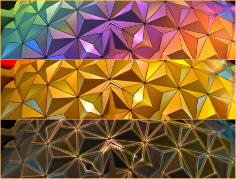 A triptych of Spaceship Earth in Epcot's Future World, Walt Disney World, Orlando, Florida.
