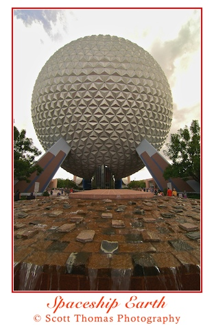 Spaceship Earth in Epcot at 11mm, Walt Disney World, Orlando, Florida.