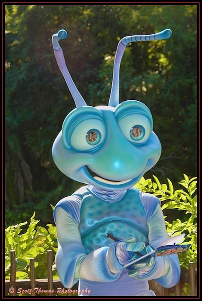 Flik meets and greets guests in Disney's Animal Kingdom, Walt Disney World, Orlando, Florida
