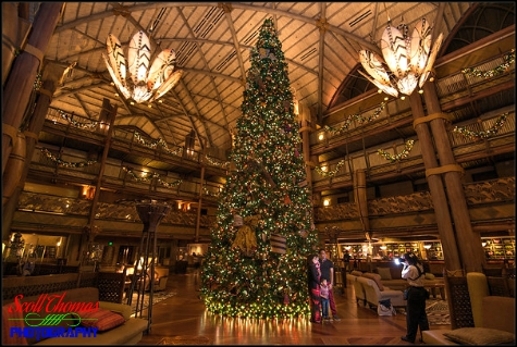 Photopass photographer photographing guests in front of the Christmas tree at Disney's Animal Kingdom Lodge, Walt Disney World, Orlando, Florida