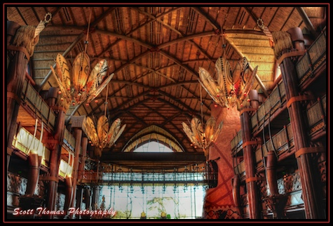 The lobby of Disney's Animal Kingdom Lodge, Walt Disney World, Orlando, Florida.