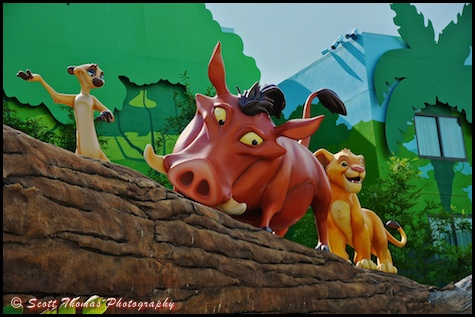 Timon, Pumba and young Simba at Disney's Art of Animation resort, Walt Disney World, Orlando, Florida.