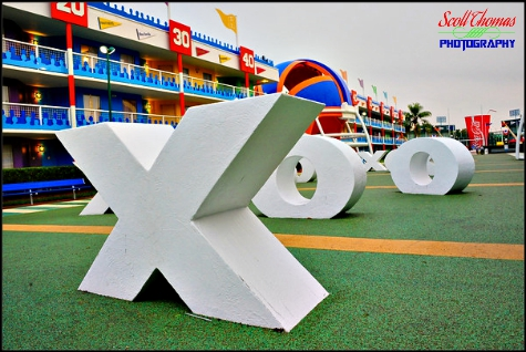 Football field at Disney's All Star Sports Resort with oversized X's and O's, Walt Disney World, Orlando, Florida