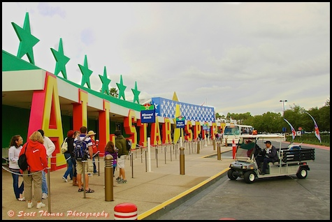 Bus transportation stops at the All-Star Sports resort, Walt Disney World, Orlando, Florida
