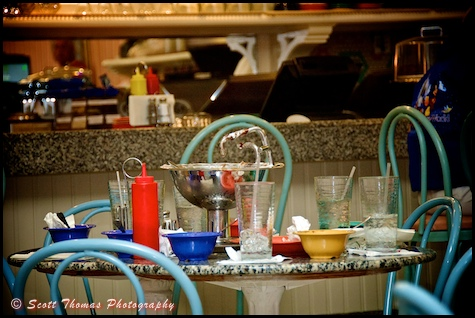 Remnants of a Kitchen Sink sundae on a table in the Beaches and Cream restaurant, Walt Disney World, Orlando, Florida